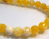 6 Beads....Lemon Yellow Fire Agate Faceted Round Gemstone Beads....8mm....BB