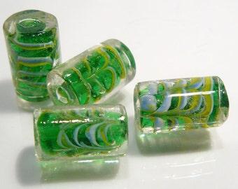 6 Beads....Green Swirl Glass Cylinder Shape....18x10mm