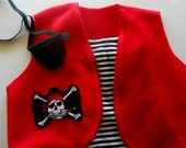 Pirate costume, black or red vest with gold trim and decal,  Size 1 - 8