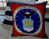 READY TO SHIP.  Toss, throw, Pillow cover, U.S. Air Force, 16x16, Last one.