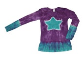 Tie Dye Shirt in Purple with an Aqua Star- Girls and Adult Sizes Available