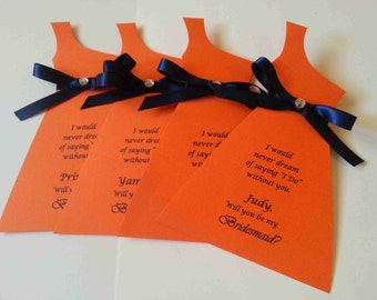 Will you be my Bridesmaid,Wedding Party Invitation Card,One Shoulder dress Bridesmaid Card