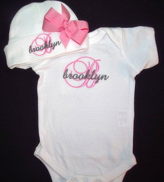 baby clothes coming home bodysuit and hat with bow