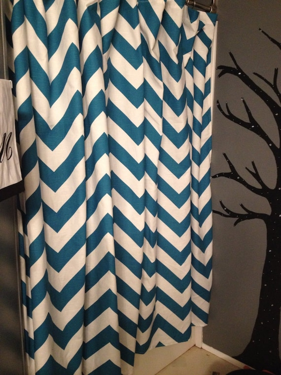 Chevron Shower Curtain Teal Chevron Shower Curtain Blue