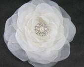 Bridal Hair Flower, Diamond White Organza Rose Hair Clip L079 bridal hair accessory