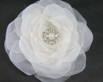 Bridal Hair Flower, Diamond White Organza Rose Hair Clip L190 bridal hair accessory