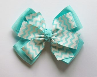 Aquamarine and White Chevron Jennifer Style Stacked Boutique Hair Bow Clip on alligator clip with no slip grip