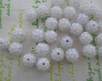 Resin Rhinestone Raspberry beads 10pcs 12mm x 10mm White