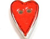 Washable ceramic HEART button, unused.