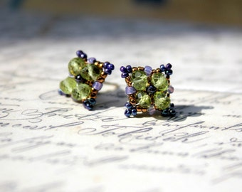 Hand Beaded Peridot and purple stud earrings with sterling silver posts