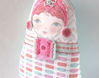 Textile Matryoshka Doll, Babushka Plush, Fabric Russian Doll, Cloth Nesting Doll, Stacking Doll, Cute Cloth Doll