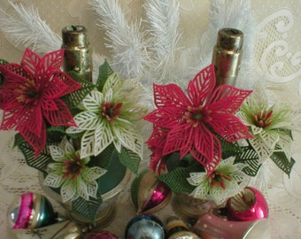 Funky Christmas Candle Plastic Poinsettia Flowers Vintage 1950s Metal Candle Sticks Old School Decor