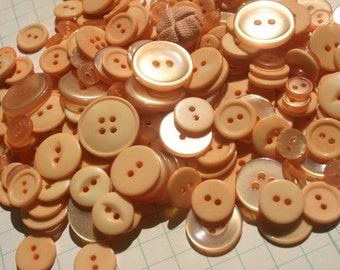 "Orange Buttons - Bulk Sewing Button - 100 Light Orange Buttons - 3/8"" to 1"" Assortment - Apricot"