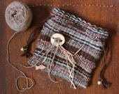 Earth Mother - Hand-woven multicolored drawstring pouch from wool yarn, gold thread and other materials