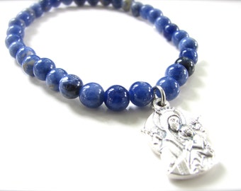 Mother of Perpetual Help - Religious Medal Stretch Gemstone Bracelet  - Sodalite