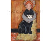 Saint Bernadette with Sheep - Reproduction From Mixed Media Painting by FLOR LARIOS (6 x 8 Inches PRINT)