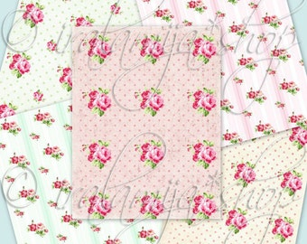 "POLKA DOTS and ROSES  8.5"" x 11"" backgrounds Collage Digital Images -printable download file-"