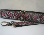 Adjustable Bag Strap, Guitar Strap Style - Blue, Red and Taupe Design, 2 inch wide