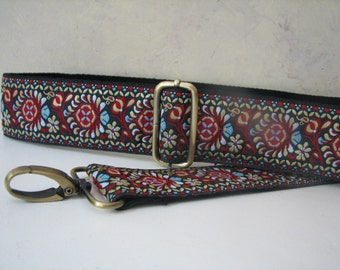 Custom Bag Strap, Blue, Red and Taupe Design, 2 inch Width