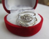 Vintage Style Diamond and Roses Engagement Set Wedding Ring Sterling Silver sz 3-10