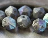 last ones .. SMOKEY TREASURES .. 10 Picasso Czech Glass English Cut Beads 10x9mm (4080-10)