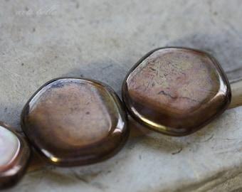sale .. BRONZE PLUM COINS .. 4 Picasso Czech Glass Coin Beads 19x3mm (3721-4)