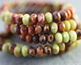 AUTUMN .. 30 Picasso Czech Glass Rondelle Beads 3x5mm (2410-st)