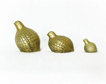 Vintage Partridge Family Brass Birds Set 3 Mid Century Quails Figurines