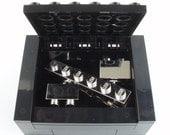 Chrome Silver Groomsmen Cufflinks & Tie Slide Gift Set Includes Box - Handmade with LEGO(r) Bricks , Wedding Cufflinks, Grooms Cufflinks bar