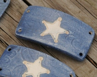 Pottery Bead with Sherriff Star in Denim Blue