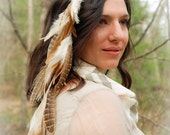 STEVIE peacock feather hair clip - ivory cream tan blonde feathers - long feather extension hair falls