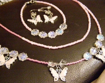 Pink Butterflies Jewelry Set