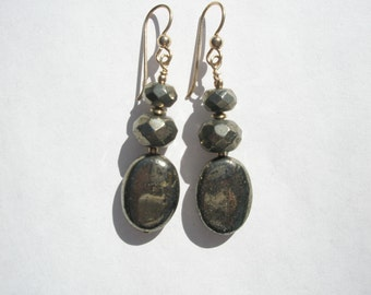 Natural Facted Pyrite Gemstone and 14/20 Gold Filled Beaded Dangle Earrings with 14/20 Gold Filled Earwires