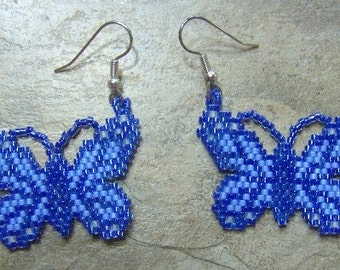 Blue Butterfly Earrings Hand Made Seed Beaded