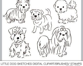 Digital Clipart, Little Dog Sketches. 300 dpi Png files, Brushes and Stamps. Download. Personal, Limited Commercial Use.