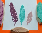 feather stamp set, hand carved feather stamps, handmade stamp set