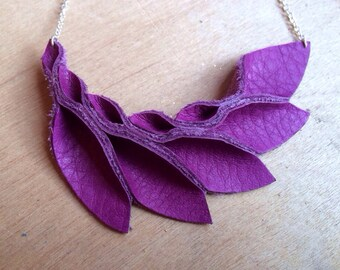 Petal Collection- Deep Pink Leather Petals Necklace