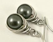 Black Pearl Earrings, Wire Wrapped Earrings, Eco Friendly Jewelry Pearl Earrings Swarovsi Jewelry Gifts for Her