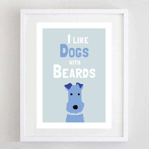 Dog Art Print - Terrier Print - Pet Lover Gift - Illustration - Beard - Free UK Delivery