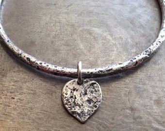 Wabi Sabi Lotus Petal Bracelet/Sterling Silver Bangle