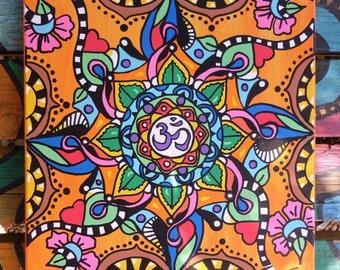 Om Art, Hippie Art, Mandala Art, Painted canvas, Yoga art, buddhist art, Singleton art, Yoga studio, meditation art, om symbol, ohm art