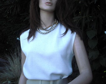 Vintage 1970s Top, Off White Knit Sleveless Top, Shell, Suit Top, Sportswear