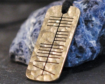 Maise (Grace, Charm, Beauty, Elegance) Gaelic Ogham Necklace - hammered brass