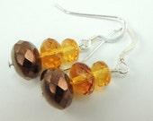 Tri-colored earrings in darker Fall browns and topaz, Autumn Earrings, Sterling Silver Earrings