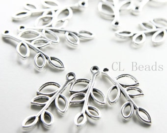 12pcs Oxidized Silver Tone Base Metal Leaf Link - Curved 34x16mm (17913Y-H-341)