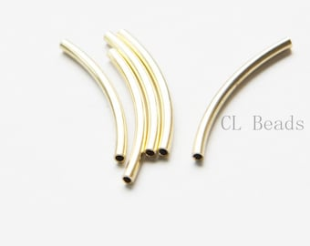 60pcs Raw Brass Curved Tube 2x30mm with ID 1.4mm (1683C-T-8)