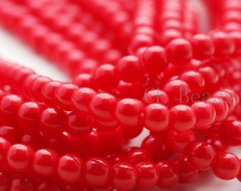 100pcs Czech Pressed Glass Round-Opaque Red 4mm (9320)(B-18-8)