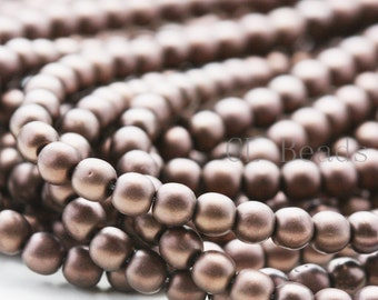 100pcs Czech Pressed Glass Round-Matte Dark Bronze 4mm (M14415)(B-18-23)