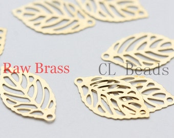 80pcs Raw Brass Filigree Laser Cut Leaf Charm - Link 18x10mm (1858C-U-89)
