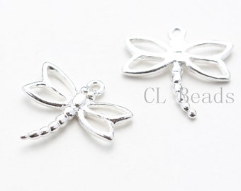 Two Pieces of  Sterling Silver Charm - Dragonfly 13x13mm
